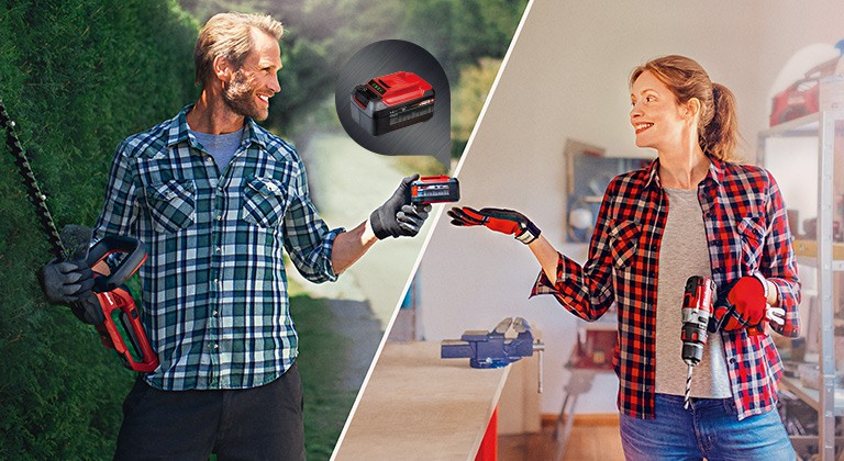 A man with hedge trimmer hands over a Power X-Change battery to a woman with a impact drill.